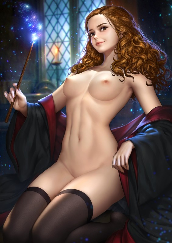 Big Boobs, Brunette, Harry Potter, Hermione Granger, NeoArtCorE (Artist), Pin-Up, Solo, Stocking, Tease
