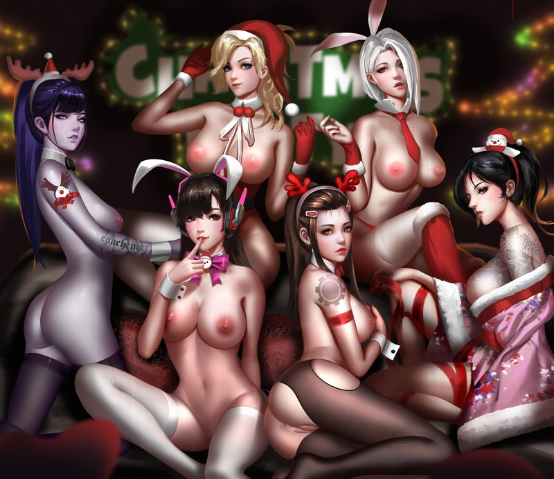 D.VA, Widowmaker, Ashe, Mercy, Brigitte, Hanzo Playboy X-Mas by Liang Xing | Overwatch