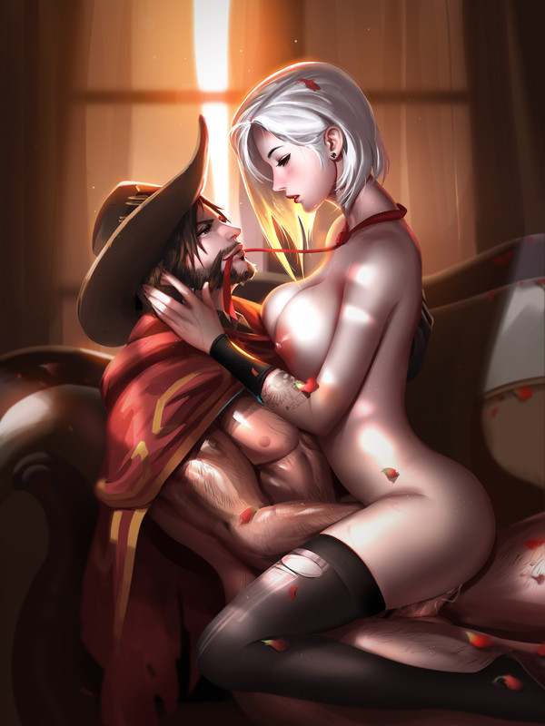 Ashe and McCree Cowboy Love by Liang Xing | Overwatch Hentai 19