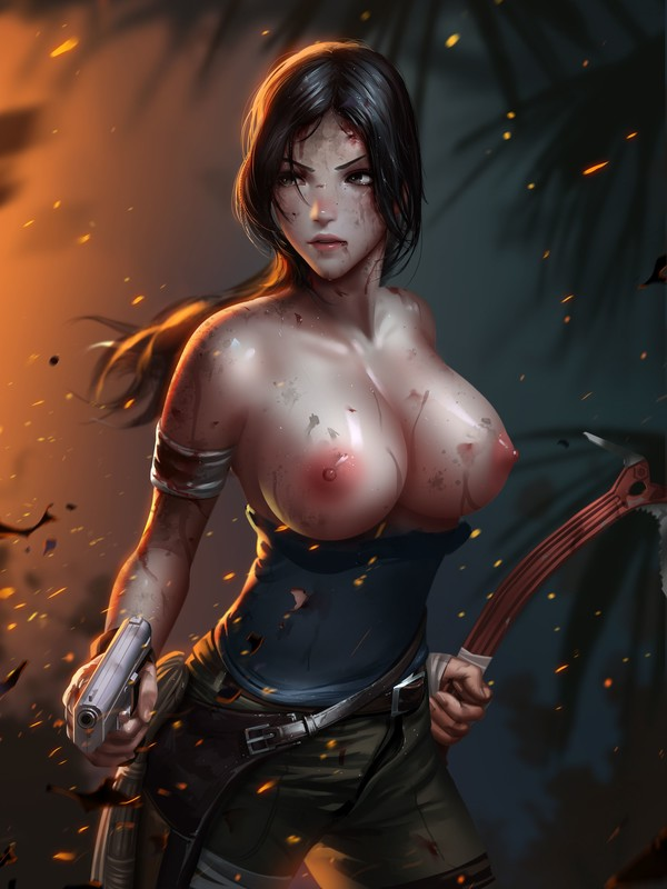 Lara Croft Big Boobs by Liang Xing | Tomb Raider