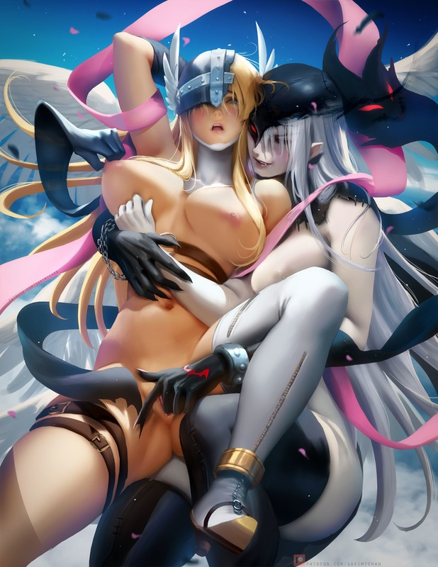 Angewomon, Big Boobs, Blonde, Digimon, Fingering, LadyDevimon, Lesbian, Pussy, sakimichan (Artist), Spreading, White Hair, Wings
